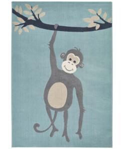 Kinderkamer vloerkleed Monkey Miles - lichtblauw - overzicht boven, thumbnail