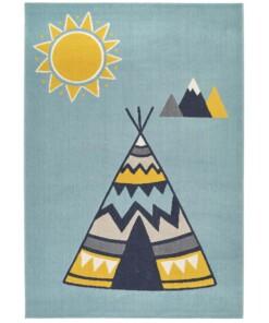 Kinderkamer vloerkleed Young wilderness - lichtblauw/multi - overzicht boven, thumbnail