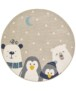 Rond Kinderkamer vloerkleed Dream Team - zwart - overzicht boven, thumbnail