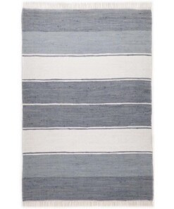 Kelim vloerkleed strepen handweef Bomull - blauw/wit - overzicht boven