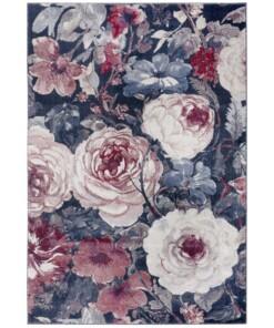 Vloerkleed bloemen Peony - rood/blauw - overzicht boven, thumbnail