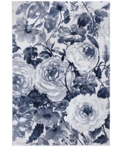 Vloerkleed bloemen Peony - blauw/crème - overzicht boven, thumbnail