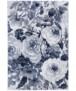 Vloerkleed bloemen Peony - grijs/blauw - overzicht boven, thumbnail