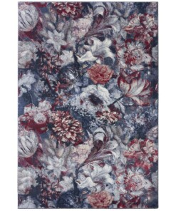 Vloerkleed bloemen Flower Symphony - blauw/roze - overzicht boven, thumbnail