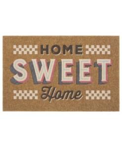 Deurmat Home Sweet Home kokos-optiek - bruin/crème - overzicht boven, thumbnail