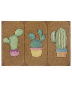 Deurmat Cactus kokos-optiek - bruin/groen - overzicht boven, thumbnail