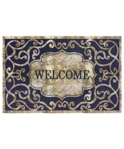 Deurmat Welcome Swirls - bruin grijs - overzicht boven, thumbnail