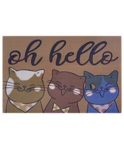 Deurmat katten Oh Hello - bruin/multi - overzicht boven, thumbnail