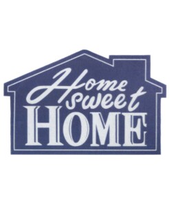Deurmat Home Sweet Home - blauw/crème - overzicht boven, thumbnail