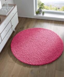 Rond vloerkleed hoogpolig effen Spectrum - roze - sfeer, thumbnail