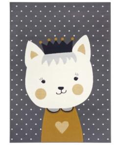 Kindervloerkleed kat Katie - grijs/mosterdgeel - overzicht boven