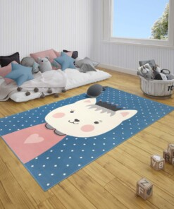 Kindervloerkleed kat Katie - blauw/roze - sfeer, thumbnail