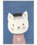 Kindervloerkleed kat Katie - roze/blauw - overzicht boven, thumbnail