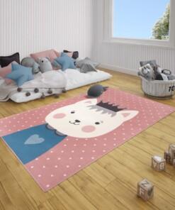 Kindervloerkleed kat Katie - roze/blauw - sfeer, thumbnail
