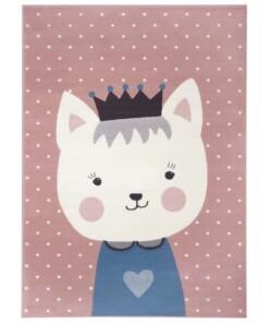 Kindervloerkleed kat Katie - roze/blauw - overzicht boven