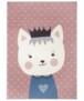 Kindervloerkleed kat Katie - grijs/mosterdgeel - overzicht boven, thumbnail