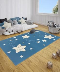 Kindervloerkleed sterren Happy - blauw - sfeer, thumbnail