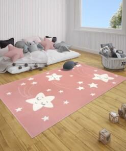 Kindervloerkleed sterren Happy - roze - sfeer, thumbnail
