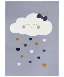 Kindervloerkleed wolken Happy - grijs - overzicht boven