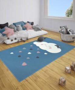 Kindervloerkleed wolken Happy - blauw - sfeer, thumbnail
