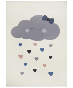 Kindervloerkleed wolken Happy - crème - overzicht boven