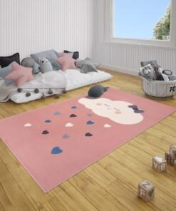 Kindervloerkleed wolken Happy - roze - sfeer, thumbnail