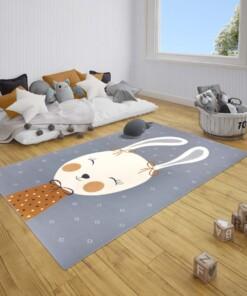 Kindervloerkleed bunny Happy - grijs - sfeer, thumbnail