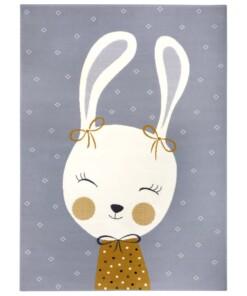 Kindervloerkleed bunny Happy - grijs - overzicht boven