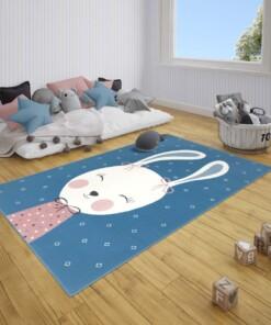 Kindervloerkleed bunny Happy - blauw - sfeer, thumbnail