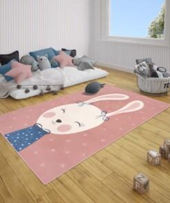 Kindervloerkleed bunny Happy - roze - sfeer, thumbnail
