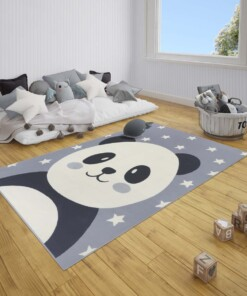 Kindervloerkleed panda Smile - grijs - sfeer, thumbnail
