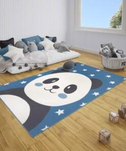 Kindervloerkleed panda Smile - blauw - sfeer, thumbnail