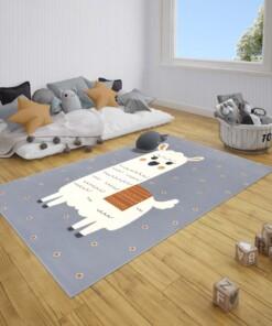 Kindervloerkleed alpaca Smile - grijs/mosterdgeel - sfeer, thumbnail