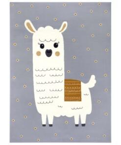 Kindervloerkleed alpaca Smile - grijs/mosterdgeel - overzicht boven