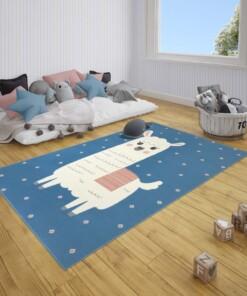 Kindervloerkleed alpaca Smile - blauw - sfeer, thumbnail