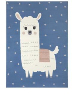 Kindervloerkleed alpaca Smile - blauw - overzicht boven