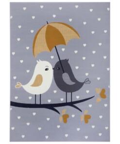 Kindervloerkleed vogels Lovely Birds - grijs/mosterdgeel - overzicht boven