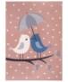 Kindervloerkleed vogels Lovely Birds - grijs/mosterdgeel - overzicht boven, thumbnail