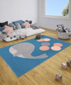 Kindervloerkleed walvis Willem - blauw - sfeer, thumbnail
