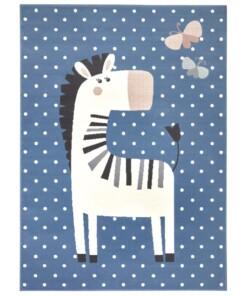 Kindervloerkleed zebra Zibbie - blauw - overzicht boven