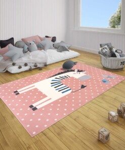 Kindervloerkleed zebra Zibbie - roze - sfeer, thumbnail
