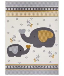 Kindervloerkleed olifant Happy - grijs/geel - overzicht boven