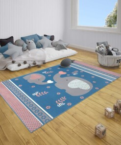 Kindervloerkleed olifant Happy - blauw/roze - sfeer, thumbnail