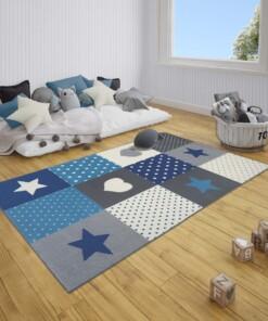 Kindervloerkleed blokken Lovely Stars - grijs/blauw - sfeer, thumbnail
