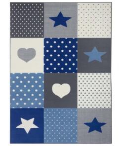 Kindervloerkleed blokken Lovely Stars - grijs/blauw - overzicht boven