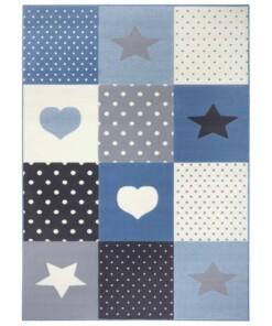 Kindervloerkleed blokken Lovely Stars - crème/lichtblauw - overzicht boven