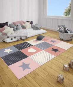 Kindervloerkleed blokken Lovely Stars - roze/crème - sfeer, thumbnail
