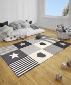 Kindervloerkleed blokken Lovely Stars - grijs/crème - sfeer, thumbnail