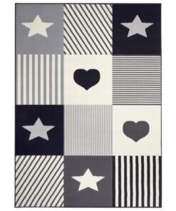 Kindervloerkleed blokken Lovely Stars - grijs/crème - overzicht boven