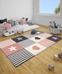 Kindervloerkleed blokken Lovely Stars - grijs/roze - sfeer, thumbnail